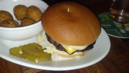 Cheeseburger and hush-puppies