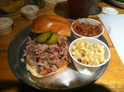 BBQ Pulled Pork Sandwich, mac&cheese, and beans